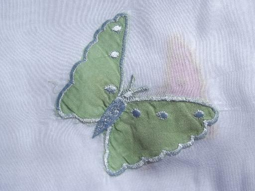 sheer white cotton organdy curtains, embroidered butterfly appliques