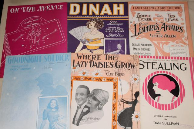 sheet music lot 100+ pieces antique & vintage songs retro cover art