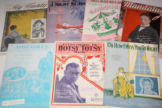 sheet music lot 100+ pieces antique & vintage songs retro cover art graphics
