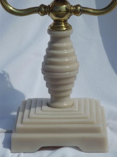 shell pink alabaster milk glass branched candlestick lamp, vintage Italy?