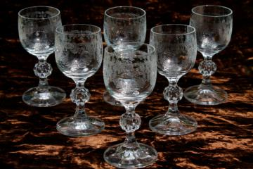 Sherry Wine Or Cordial Gles Set Of 6 Tiny Goblets Vintage Bohemia Crystal W