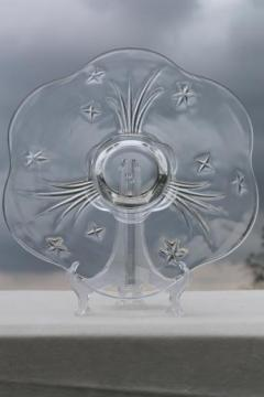 shooting star pattern vintage glass torte plate, low cake stand / dessert serving tray