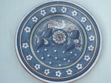 signed vintage Mexican pottery tray or charger plate, Tonala doves