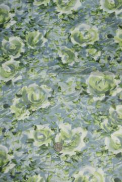 silky vintage pure cotton batiste fabric, watercolor floral greens & grey blues