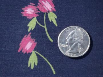 silky vintage rayon or poly dress fabric, rose scribble on navy blue