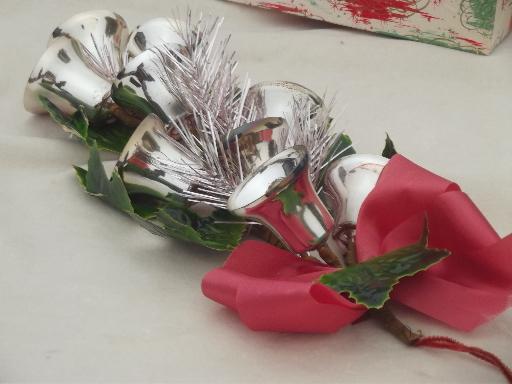 Silver bells vintage christmas wall art ornament holiday