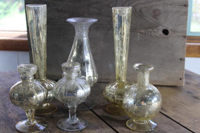 silver & gold vintage mercury glass vases collection, wedding table or holiday decor