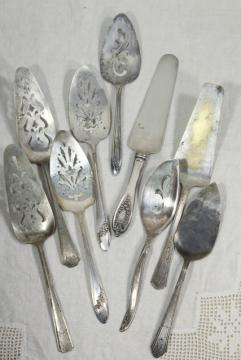 silver plate cake servers, mismatched vintage silverware serving pieces, caterers lot?