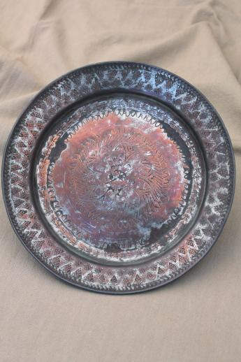silver washed copper bowl & charger plate, hand wrought copper with silver wash