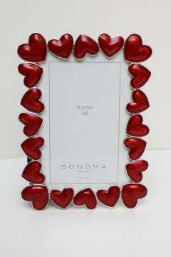 silvery metal photo / picture frame w/ red enameled hearts for Valentines day