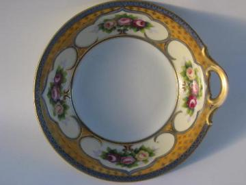 single handled serving bowl, Noritake painted roses on blue and mustard gold