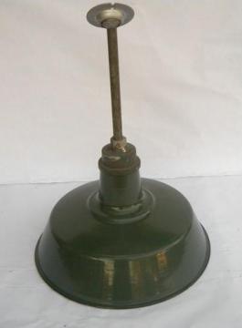 single old 18'' green porcelain enamel industrial light, vintage pendant lighting