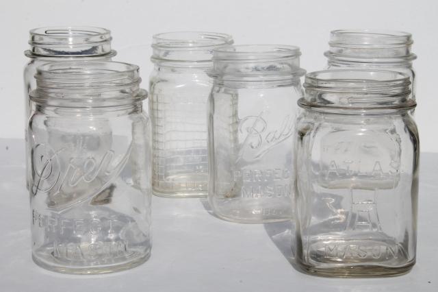 Six Different Vintage Pint Mason Jars Mismatched Canning