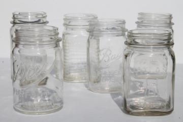 six different vintage pint mason jars, mismatched canning jar drinking jars / party glasses