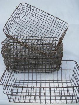 Six Old Wire Garden Nurserymanu0027s Industrial Storage Baskets, Vintage  Wirework