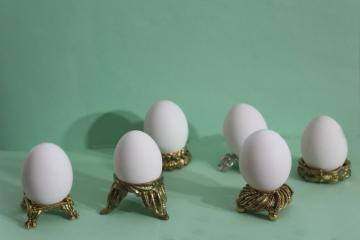 six ornate metal egg holders, vintage ornamental stands for decorative eggs