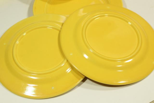 six solid yellow salad plates, vintage ceramic Harlequin Homer Laughlin china