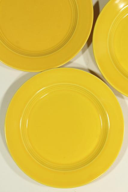 six solid yellow sandwich plates, vintage ceramic Harlequin Homer Laughlin china