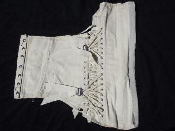 size 40 vintage Camp cotton corset w/ boning, waist cinch fan lacing