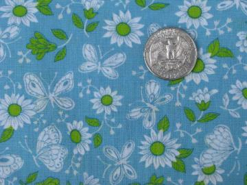 sky blue w/ apple green & white buttefly print, 60s vintage cotton fabric