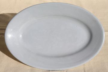 sky tone Lune pale blue Buffalo ironstone china platter, vintage restaurantware oval plate
