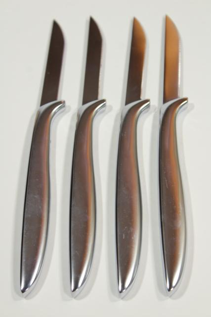 sleek stainless steel steak knives, Gerber Miming minimalist modern metalware