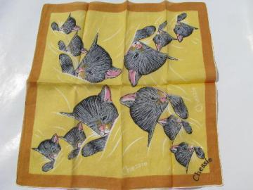 sleepy kitten vintage baby kitty print hanky, 1950s cotton handkerchief