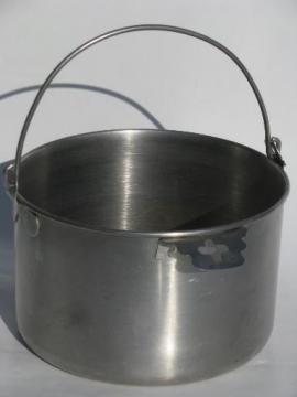 small Swiss goat or cow milking pail, vintage stainless steel bucket