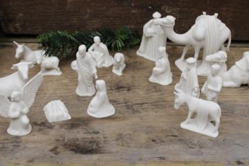 small all white bisque china nativity scene, vintage Christmas creche figures & animal