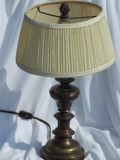 small antiqued brass finish table lamp, traditional shape w/ pleated shade