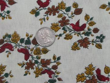 small birds & flowers, vintage 1960s cotton print fabric, quilting weight