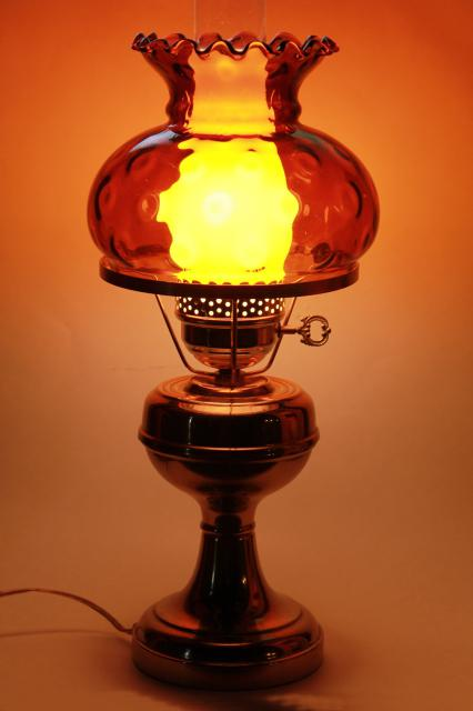 Small Brass Student Lamp W/ Amber Glass Shade, 60s 70s Vintage Desk Or Table  Lamp