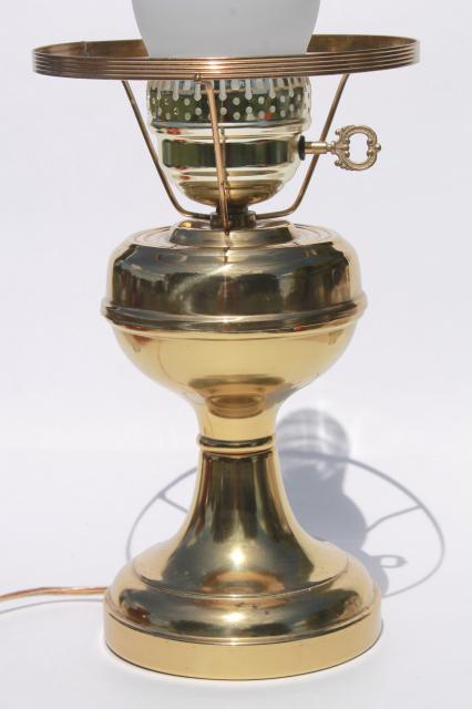 Small Brass Student Lamp W Amber Glass Shade 60s 70s