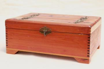 small cedar chest jewelry box, vintage cedarwood dresser box for gloves etc.