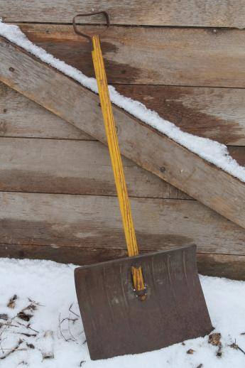 Small Childs Snow Shovel Vintage Metal Shovel W Wood Handle Nice