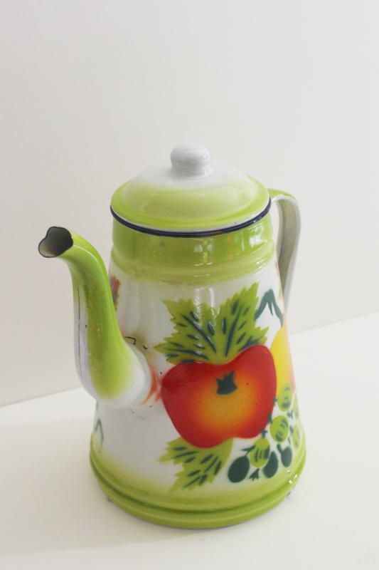 small enamel coffee pot w/ bright colored fruit, vintage enamelware