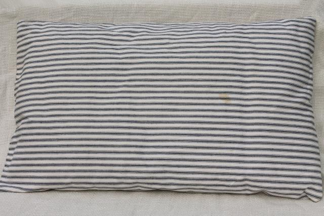 small feather pillow, vintage blue & white ticking stripe chair seat cushion