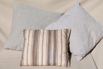 small feather pillows w/ primitive antique striped cotton ticking fabric