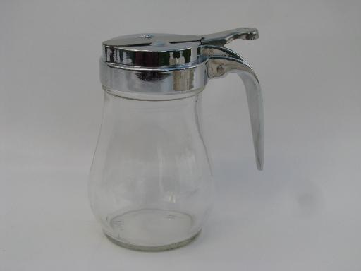 small glass syrup pitcher, drip-cut type metal lid w/ vintage glass jar