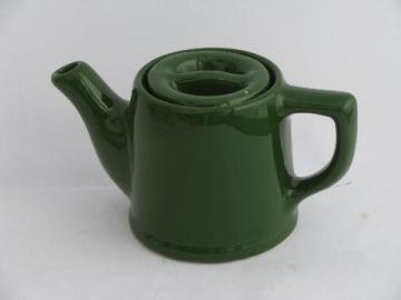 small green teapot for single cup or mug of tea, vintage pottery tea pot
