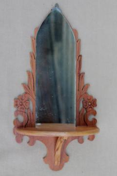 small old carved wood shelf w/ church window mirror, shrine or display for religious figurines