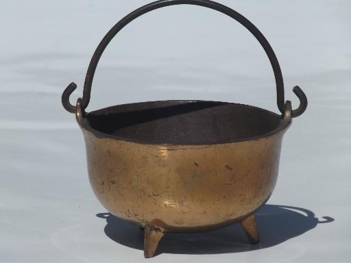 small old cast iron cauldron, vintage fireplace fire starter pot