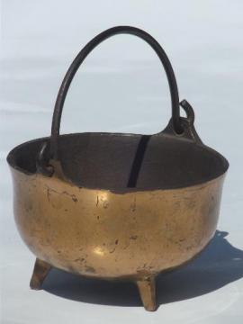 small old cast iron cauldron, vintage fireplace fire starter pot