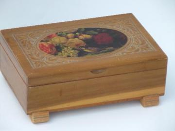 small old cedar chest keepsake or jewelry / glove box, bird and flowers