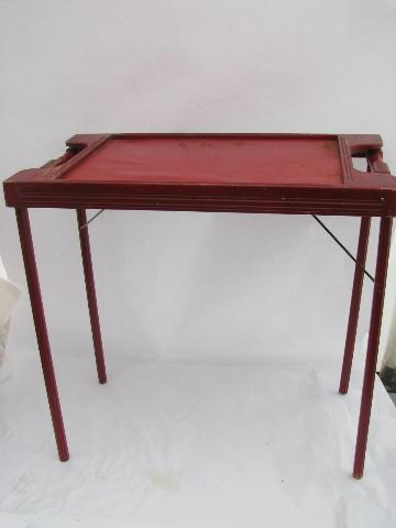 Small old folding wood tray table antique sewing table vintage red small old folding wood tray table antique sewing table vintage red paint watchthetrailerfo