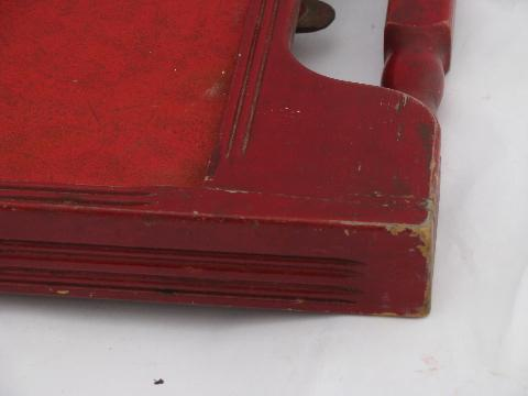 small old folding wood tray table, antique sewing table, vintage red paint