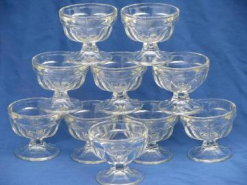 small old pressed glass sherbet cups or ice cream dishes, set of 10