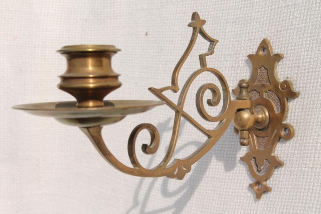 Small Wall Sconces Candles : small ornate brass candle sconce, swing pivot arm w/ metal wall mount bracket