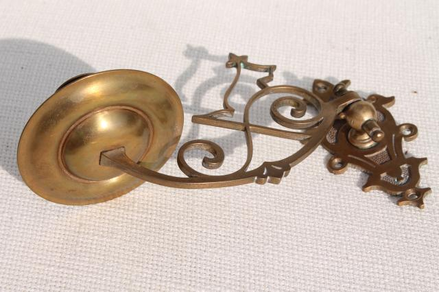 small ornate brass candle sconce, swing pivot arm w/ metal wall mount bracket