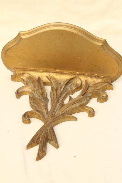 small ornate vintage gold shelf, Syroco Syrowood plate holder wall bracket